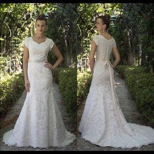 Dresses & Skirts - Custom made Modest Wedding Dress lace beaded belt